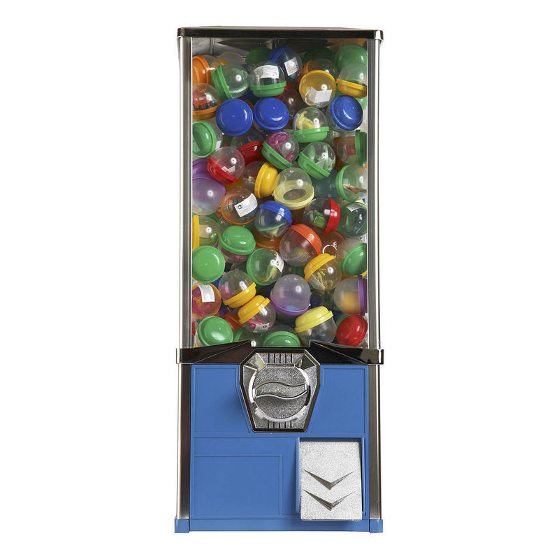 Blue 1 Inch Toy Capsule Vending Machine 500pcs Coins 1'' - 2.5'' Chrome Finished